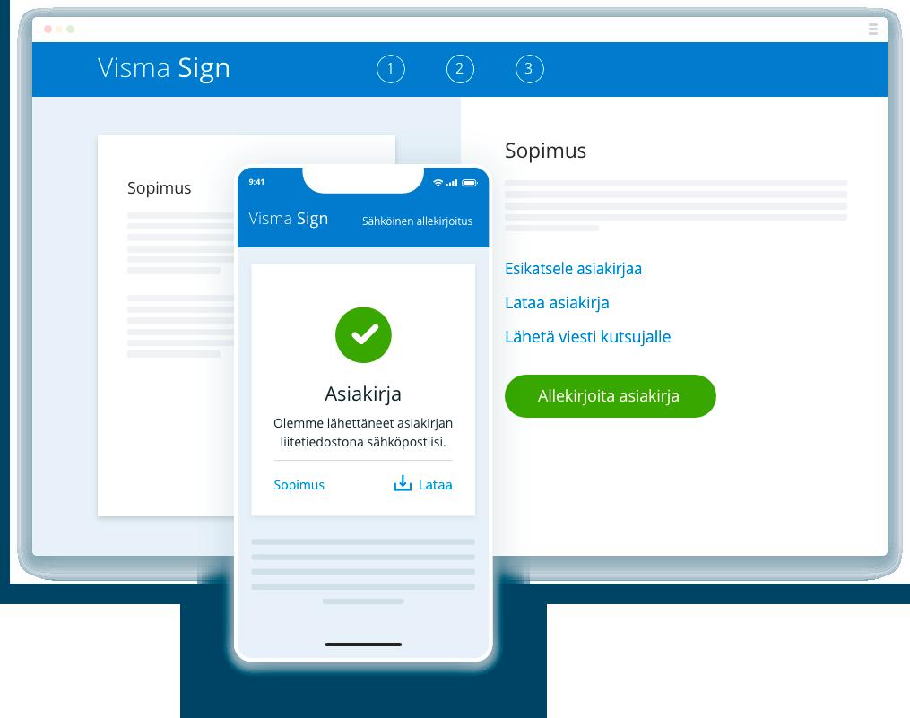 Visma Signia voit käyttää niin tietokoneella, tabletilla kuin mobiilissa